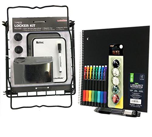 Black Storage Cup Lockermate 7 Piece Tall Wire Locker Kit with Magnets Mirror Dry Erase Marker School Supplies Dry Erase Board
