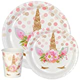 Premium Unicorn Birthday Party Supplies Set, Paper Plates And Cups for 12 by Party Crush, Great for Kids Birthdays and Baby Showers