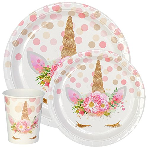 Premium Unicorn Birthday Party Supplies Set, Paper Plates And Cups for 12 by Party Crush, Great for Kids Birthdays and Baby Showers (Treat Plate Special)