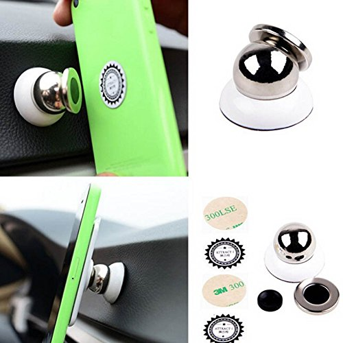Ingooood Universal Magnetic Car Phone Holder For Iphone Samsung XIAOMI GPS Accessories Mobile Phone Car Holder Sticky Stand 360 Degrees (White)