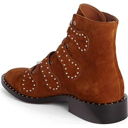 Frotter L'automne Sexy Bottes Rivet BROWN Authentique EUR43UK9 Hiver Martin Taille Grand Moto NVXIE Cheville 43 Cuir Pointu Chaussures 35 Femmes wFqvY0x1Y