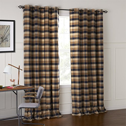 FirstHomer Room Darkening Thermal Insulated Plaid Blackout Lined Curtains for Bedroom/Living Room ( 1 Panel ) Chocolate and Black 50Wx72L (Murmaid Costume)