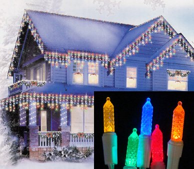 Set of 70 Multi-Color LED M5 Twinkle Icicle Christmas Lights - White Wire