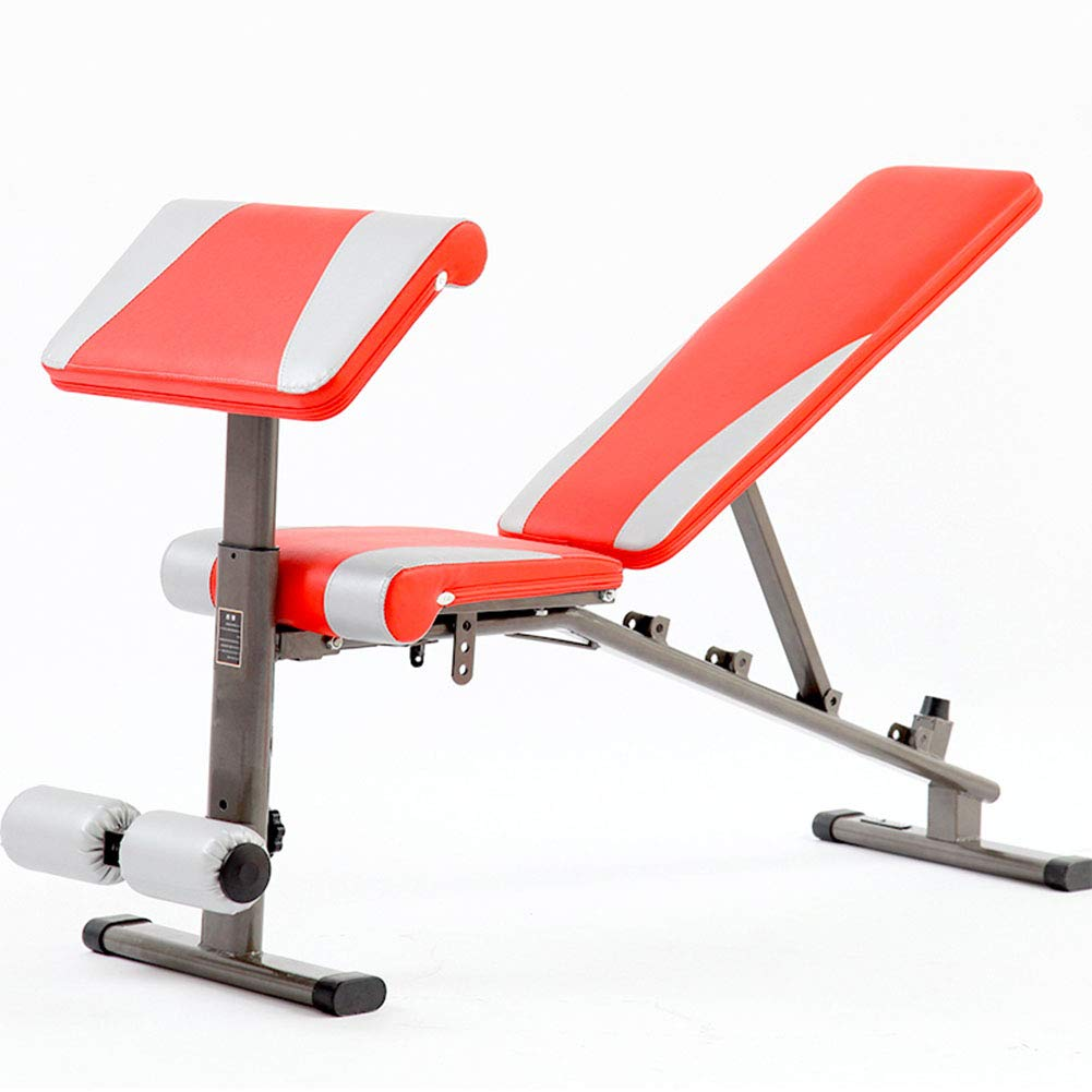 Multifunktions Hantelbänke Fitness Utility Bench, Trainingsgewicht Sit Up Bench für Ganzkörpertraining Heavy Duty einstellbar, flach geneigt Abnahme Multiuse Übung