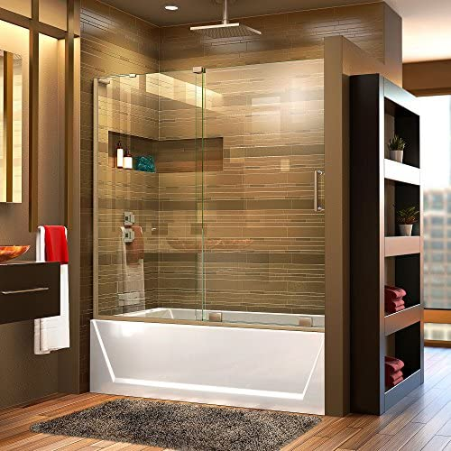 DreamLine Mirage-X 56-60 in. W x 58 in. H Frameless Sliding Tub Door in Brushed Nickel Left Wall Installation, SHDR-1960580L-04