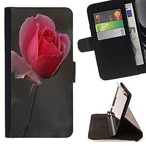 - Rose Pink Flower Romantic Love Heart/ Personalizada del estilo del dise???¡Ào de la PU Caso de encargo del cuero del tir????n del soporte d - Cao - For Apple Iphone 5C