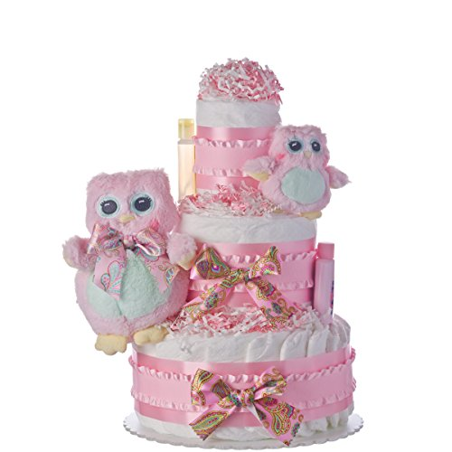 Diaper Cake - Two Owls Theme Handmade By Lil Baby Cakes - Gift for Baby Girl- Makes a Great Baby Shower Centerpiece by Lil' Baby Cakes