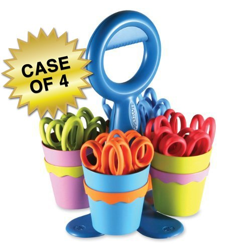 Westcott School Scissor Caddy and Kids Scissors with Anti-Microbial Protection, 24 Scissors and 1 Caddy, 5-Inch Pointed, Case of 4 (14755)