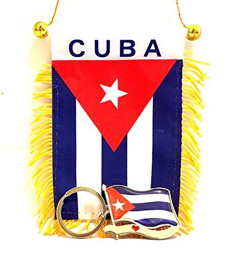 Cuban,Cuba,flag, 2pc Cuban style Cuba flag and Keychain set , I LOVE CUBA design Cuban Cars