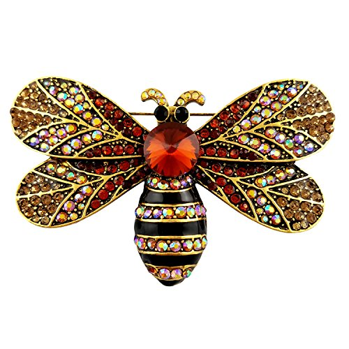 SELOVO Gold Tone Big Honeybee Pin Brooch Brown Austrian Crystal by SELOVO