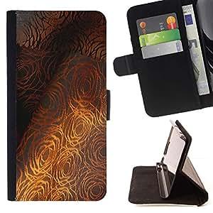 For HTC One M7 Case , Patrón Tela fina gris Rose- la tarjeta de Crédito Slots PU Funda de cuero Monedero caso cubierta de piel