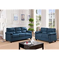 Kings Brand Furniture Blue Microfiber Living Room Set, Sofa & Loveseat