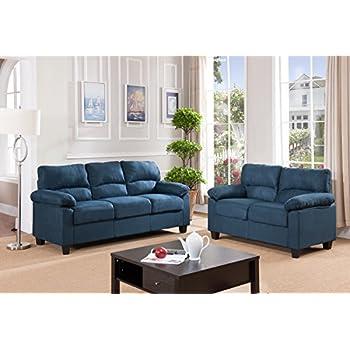 Kings Brand Furniture Blue Microfiber Living Room Set Sofa Loveseat Kitchen Dining