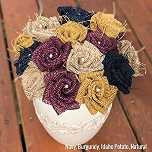 Burgundy Burlap Flowers with Stem (12 total) Burlap Rose Flowers with Stem Wedding Decor Flowers Rustic Bouquet with Wooden Stems 27