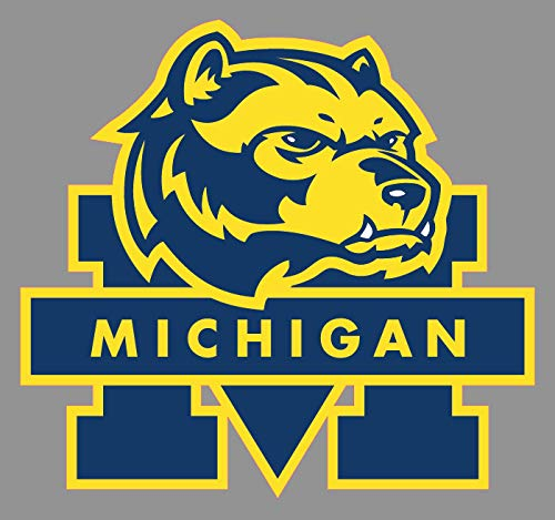 Vinyl Sticker Decal Michigan Wolverines Alternate Premium Full Color Logo Weather Resist for Windows Car Cell Phone Bumpers Laptop Wall, 6