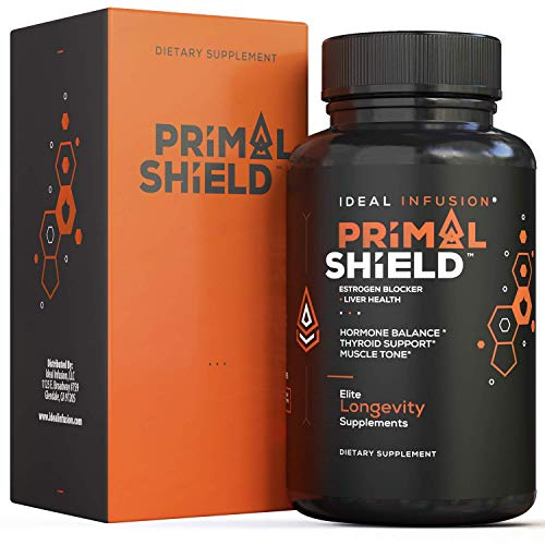 Primal Shield - Estrogen Blocker for Men and Hormone Balance for Women l Lean Muscle Mass, Mood Support l Aromatase Inhibitor, Thyroid Support, Liver Detox