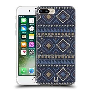 Head Case Designs Dark Blue Ikat Tribal Prints Soft Gel Case for Apple iPhone 7 / iPhone 8