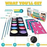 Face Paint Kit for Kids - 30 Stencils, 12 Large Washable Paints, 3 Brushes, Safe Kids Facepainting for Sensitive Skin, Professional Facepaints, Halloween Makeup Kit Body Paint Supplies