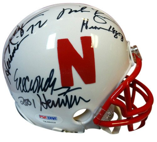 Eric Crouch Mike Rozier and Johnny Rodgers Signed Nebraska Cornhuskers Replica Mini Helmet Heisman Winners With Inscriptions - PSA/DNA Authentication - Autographed NFL Football (Autographed Football Helmet)
