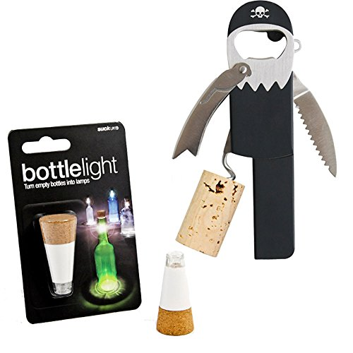 Pirate Legless Corkscrew Bottle Opener and USB Rechargeable Bottle Light Bundle, 2 Items Review