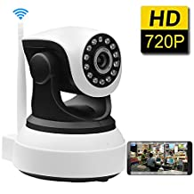 SDETER 720P WiFi Wireless HD IP Network Camera, Pan/Tilt, Plug/Play, Day/Night Vision Home Surveillance, Two-Way Audio, SD Card Slot, Alarm, Baby Monitor