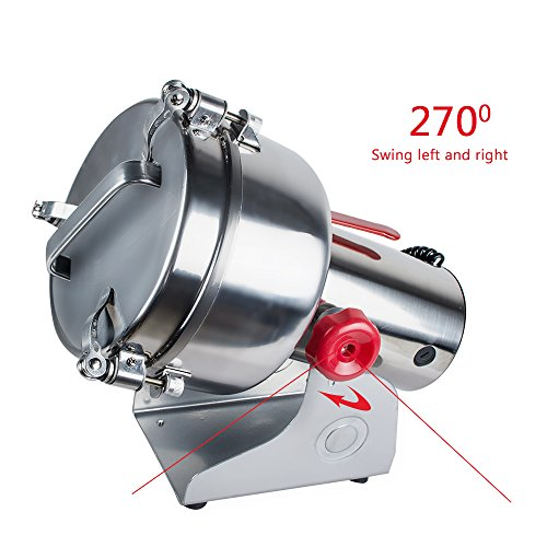 Genmine Electric Grain Grinder Mill Machine Commercial 1000g Kitchen Herb Spice Pepper Coffee Grinder Powder Swing Type for Herb Pulverizer Food Grade Stainless Steel (Shipping From USA) by genmine (Image #6)