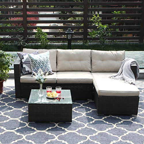 PHI VILLA 3-Piece Patio Furniture Set Rattan Sectional Sofa Wicker Furniture, Beige