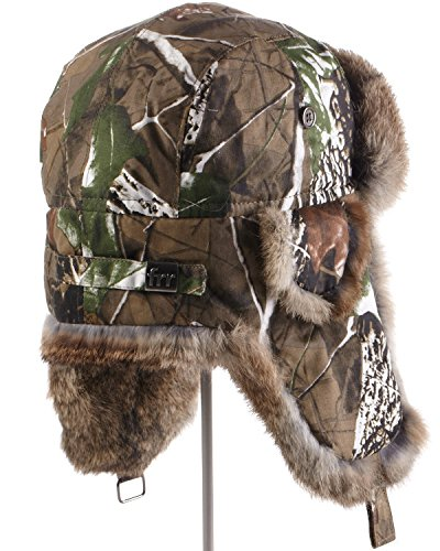 cdf58ffd53c frr Camouflage Trapper Hat with Natural Brown Rabbit Fur at Amazon Men s  Clothing store