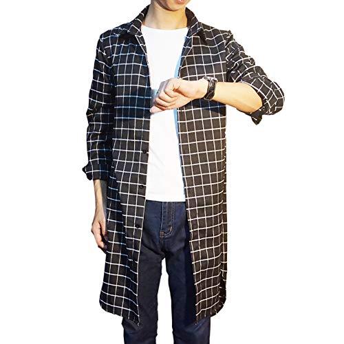 ひばりデジタルエール[Make 2 Be] ロング チェックシャツ 長袖 ロング丈 メンズ スリム ネルシャツ MF82