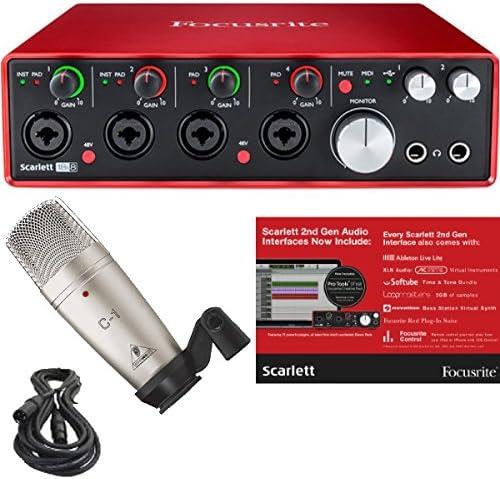 Focusrite Scarlett 18i8 (2ª generación) Interfaz de Audio USB con Pro Tools First y Studio Condenser Mic, Mount, Case y XLR Cable Bundle: Amazon.es: Electrónica