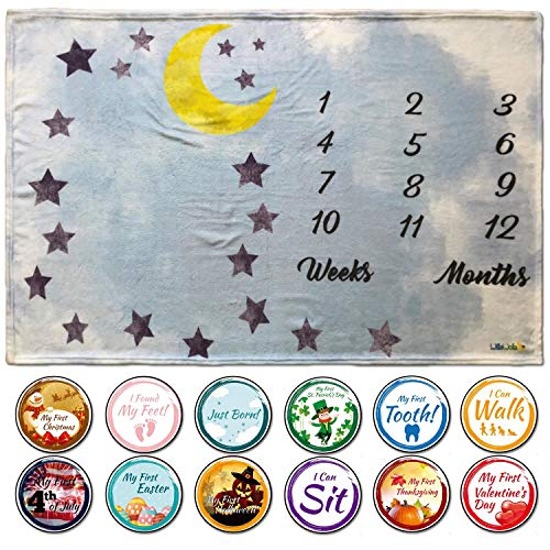 Baby Monthly Milestone Blanket for Boy and Girl | Soft Premium Flannel Fleece | Free Milestone Stickers | for Mom Newborn Baby Shower Gift | 100% Machine Washable | Large 60x 40 Size