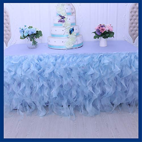 Wedding Ruffled Red Blue Pink Black Blush Green Organza Curly Willow Table Skirt baby blue 17ft long 75cm - Gingham Toile Green Pink