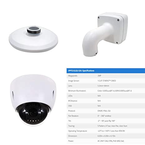 Amazon.com : 12X Optical 16X Digital Starlight 2MP 1080P Onvif Indoor Outdoor Weatherproof Ceiling Mount IP PTZ Security Camera with True WDR H.264 H.265 ...