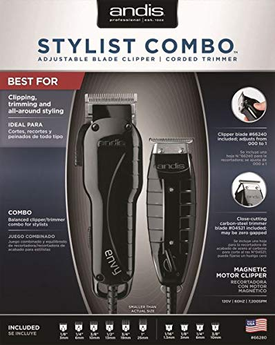 Andis Stylist Combo Envy Clipper + T-Outliner Trimmer Black Combo Haircut Kit 66280 (Clippers Edgers)