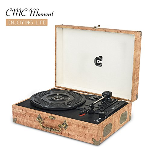 CMC Portable Bluetooth 3 Speed Turntable with Built in Stere
