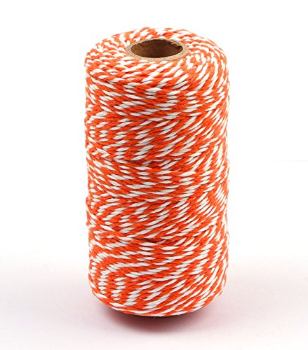Penta Angel 2mm Diameter 100M /109 Yards Natural Cotton Baker Twine Cording DIY Craft Twist String Spool Gift Wrapping Packing Rope for Garden Festival Decoration (Orange and White) (Natural Cotton Twist Rope)