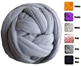 welltree Merino Soft Chunky Wool Yarn For Arm Knitted DIY Your Favorite Thick Blankets ( Grey - 6.6 lbs )