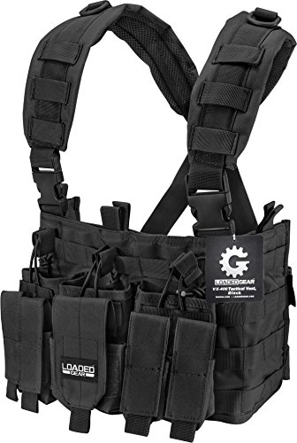 Loaded Gear Tactical Chest Rig Light Outdoor Adjustable (Black)