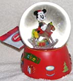 "Disney Mickey Mouse on Rocking Horse Musical Christmas Snow Globe Waterball - Plays ""We Wish You a Merry Christmas"""