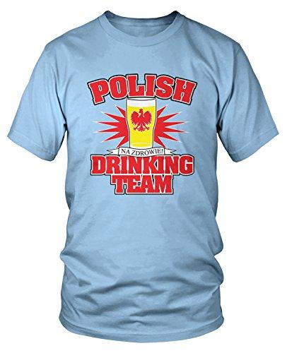 Amdesco Men's Polish Drinking Team, Love Polska Beer T-Shirt, Light Blue Small (Team Light Drinking T-shirt)