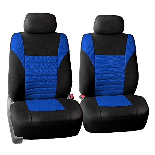 FH GROUP FH-FB068102 Premium 3D Air Mesh Seat Covers Pair Set (Airbag Compatible), Blue / Black Color- Fit Most Car, Truck, Suv, or Van