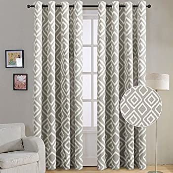 FlamingoP Room Darkening Ikat Fret Blackout Top Grommet Unlined Thermal Insulated Window Curtains Set Of