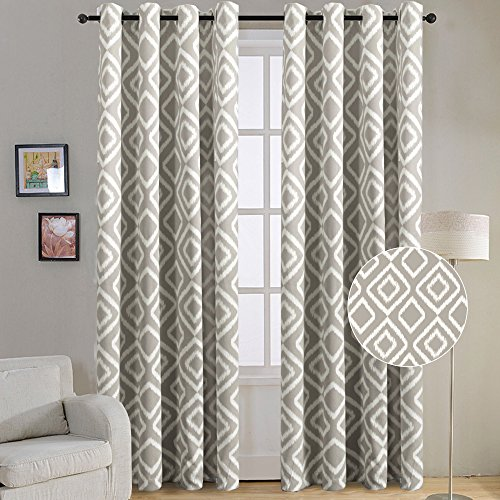 FlamingoP Room Darkening Ikat Fret Blackout Top Grommet Unlined Thermal  Insulated Window Curtains, Set Of Two Panels, Each 96 By 52, Greige Dove