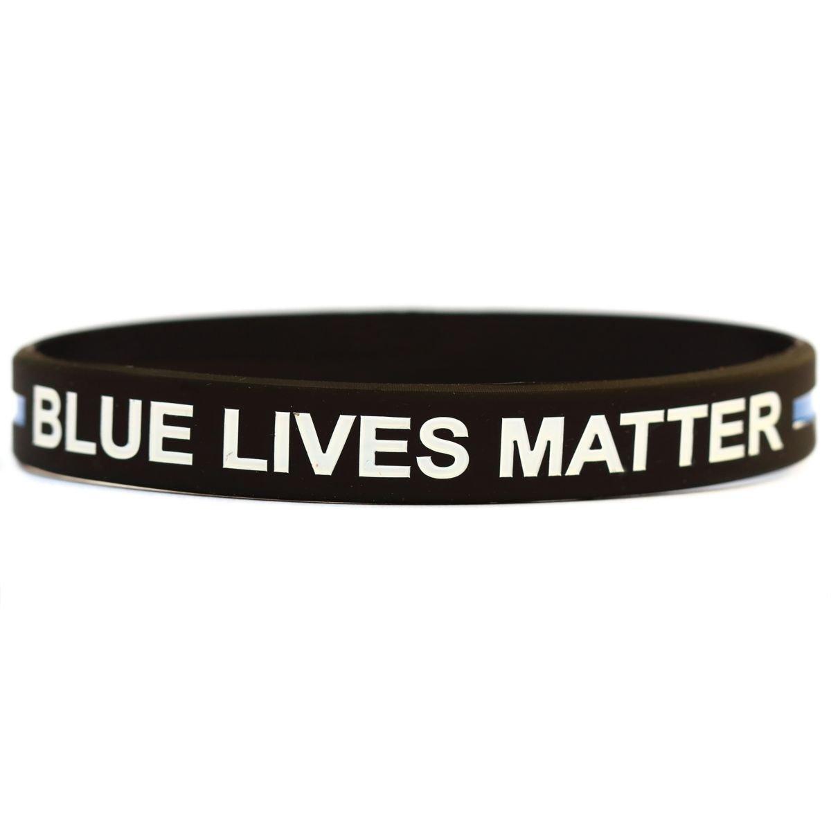 1子サイズブルーLives MatterシンブルーラインシリコンリストバンドブレスレットPolice Officers patrol Awarenessサポートsayitbandsブランド   B015G5VRIM