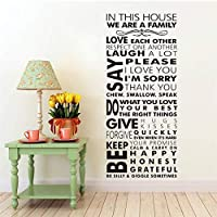 25x57cm Wall Sticker Vinyl In this house Family Rules Wall Decals Home Living Room Art Mural Removable Family Rules Quote Sticker