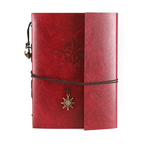 DIY Photo Album Scrapbook Leather Album Travel Memory Book Holds 60 Pages 5x3 Photos for Family Wedding Graduation Anniversary Gift(Red Large Compass)