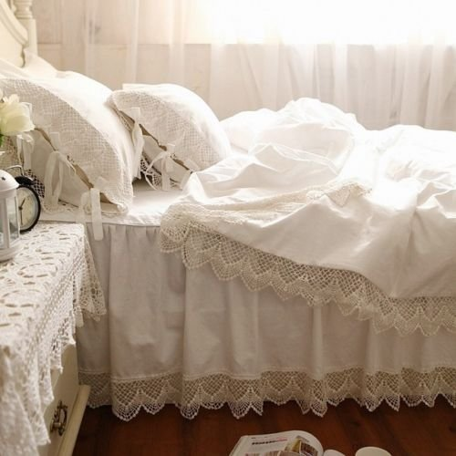 Swanlake Shabby and Victorian Style White Wide Lace Cotton Duvet Cover Bedding Set