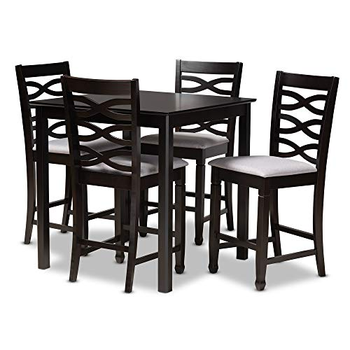 Baxton Studio 157-9600-9776-AMZ 5-Piece Pub Set, Gray and Dark Brown