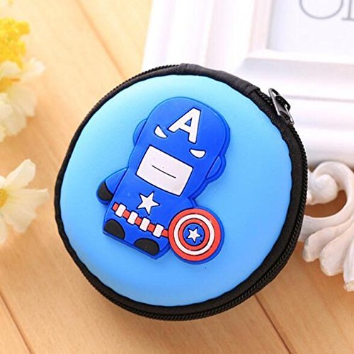 Shopkooky Captain America Printed Attractive Silicone Round Zipper Earphone Case