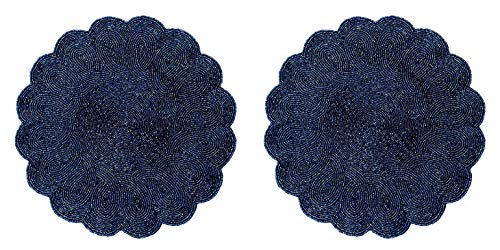 Cotton Craft - 2 Pack Beaded Placemat Set - Scalloped Round Hand Beaded Charger Placemat - Navy - Set of 2-14 inches Round - Hand Made Skilled artisans